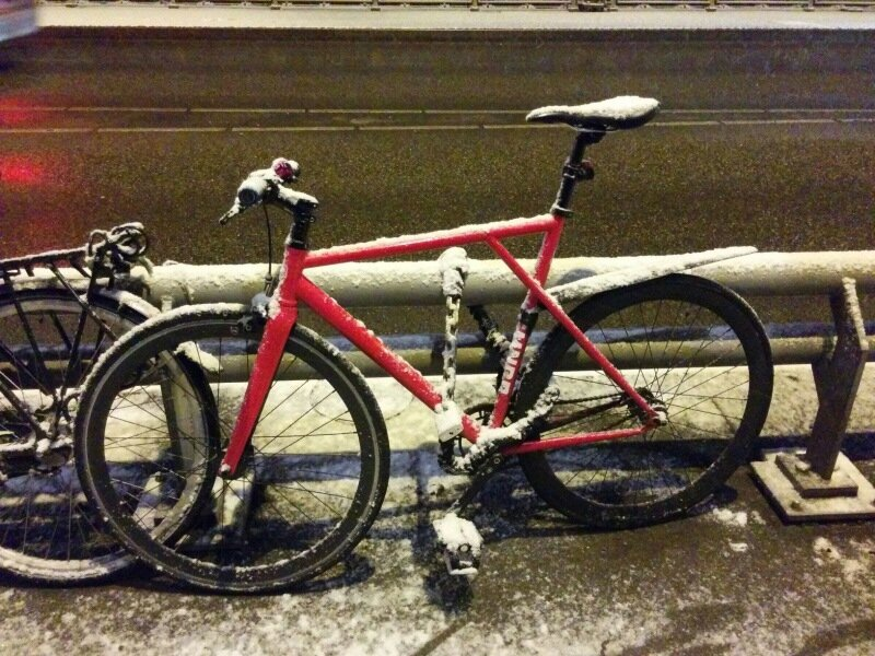Back when I used to ride a fixie. This was my bike waiting while enjoying a jazz Concert at Bimhuis. A fixie and snow tend not to be best friends