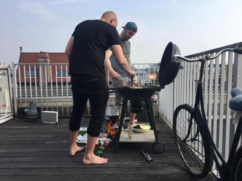 Sometimes you wonder how bikes make it to the rooftop terrace, but you don't even think about it